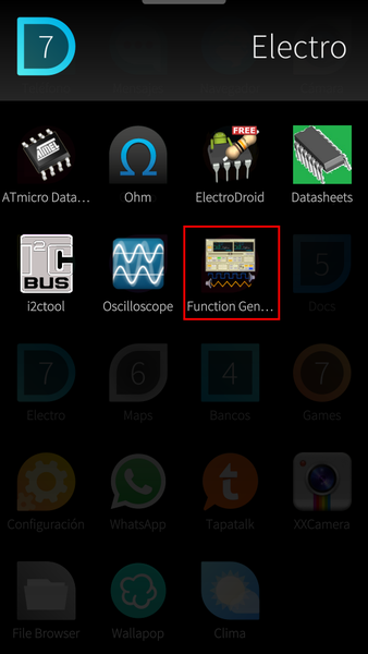 Apps menu - Function Generator
