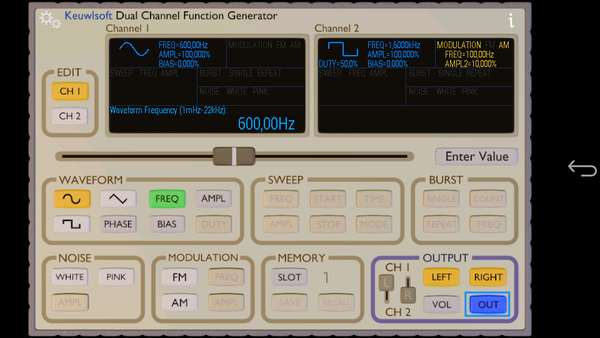 Function Generator - Left sinus
