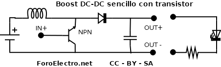 Boost DC-DC manual con transistor