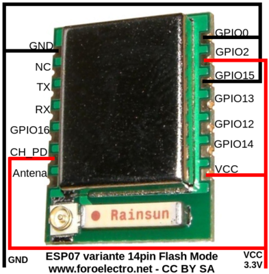 ESP8266 ESP07 14 pins Flash Mode