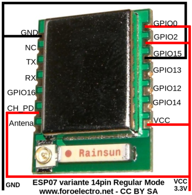 ESP8266 ESP07 14 pins Regular Mode